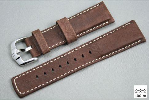 Bracelet montre HIRSCH Mariner cuir Marron couture Blanche (étanche)