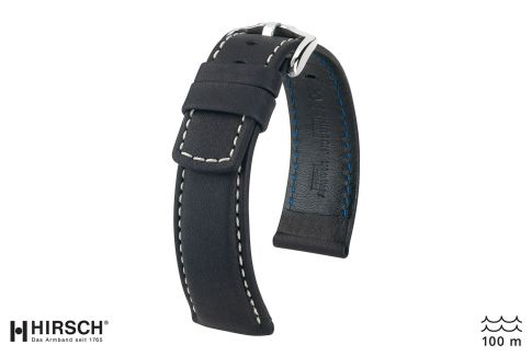 Black White topstitching Mariner HIRSCH watch bracelet (waterproof)