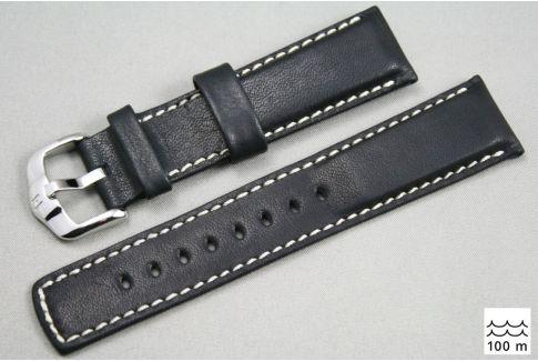 Bracelet montre HIRSCH Mariner cuir Noir couture Blanche (étanche)