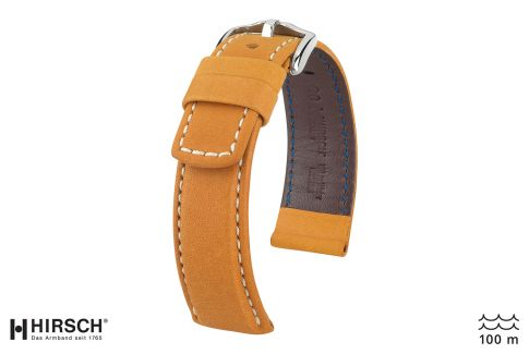 Honey Brown White topstitching Mariner HIRSCH watch bracelet (waterproof)