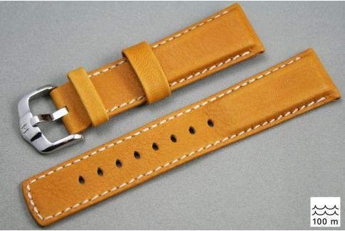 Bracelet montre HIRSCH Mariner cuir Marron Miel couture Blanche (étanche)