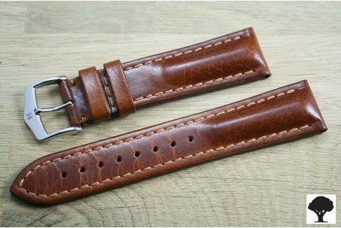 Bracelet montre HIRSCH Lucca, cuir toscan Marron Or, fabriqué main