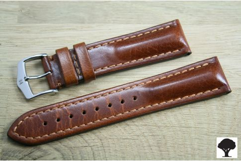 Hand-made Lucca HIRSCH watch bracelet, Gold Brown Tuscan leather