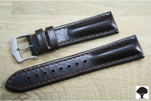 Hand-made Lucca HIRSCH watch bracelet, Brown Tuscan leather