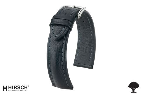 Hand-made Lucca HIRSCH watch bracelet, Black Tuscan leather