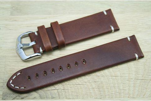 Bracelet montre cuir HIRSCH Ranger marron or, style vintage (coutures minimales)