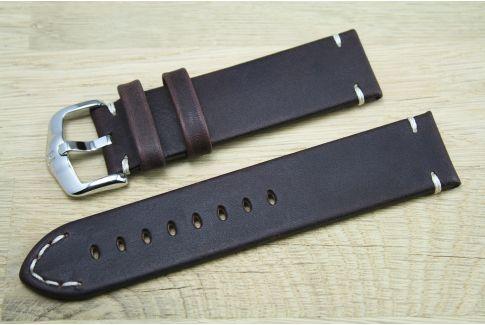 Bracelet montre cuir HIRSCH Ranger marron, style vintage (coutures minimales)