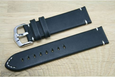 Bracelet montre cuir HIRSCH Ranger noir, style vintage (coutures minimales)
