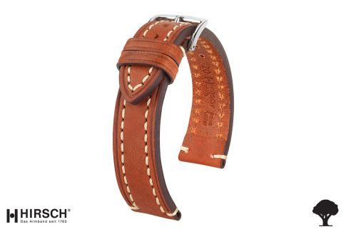Gold Brown Liberty HIRSCH watch bracelet, vegetable tanning leather