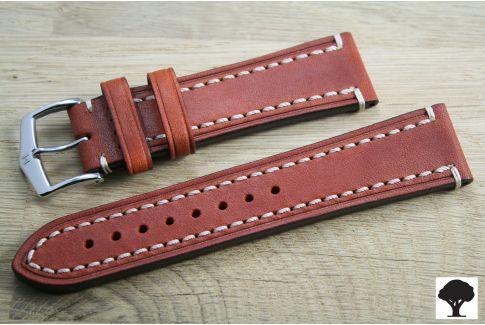 Bracelet montre HIRSCH Liberty marron or, cuir au tannage végétal