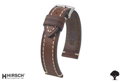 Bracelet montre HIRSCH Liberty marron, cuir au tannage végétal