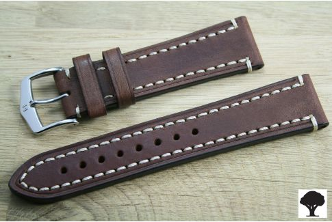 Brown Liberty HIRSCH watch bracelet, vegetable tanning leather