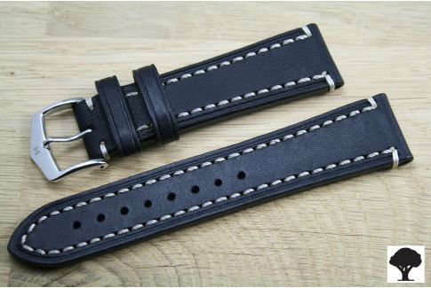 Black Liberty HIRSCH watch bracelet, vegetable tanning leather