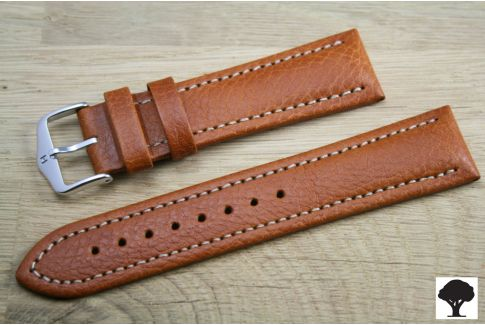 Honey Brown Buffalo HIRSCH watch bracelet, vegetable tanning leather