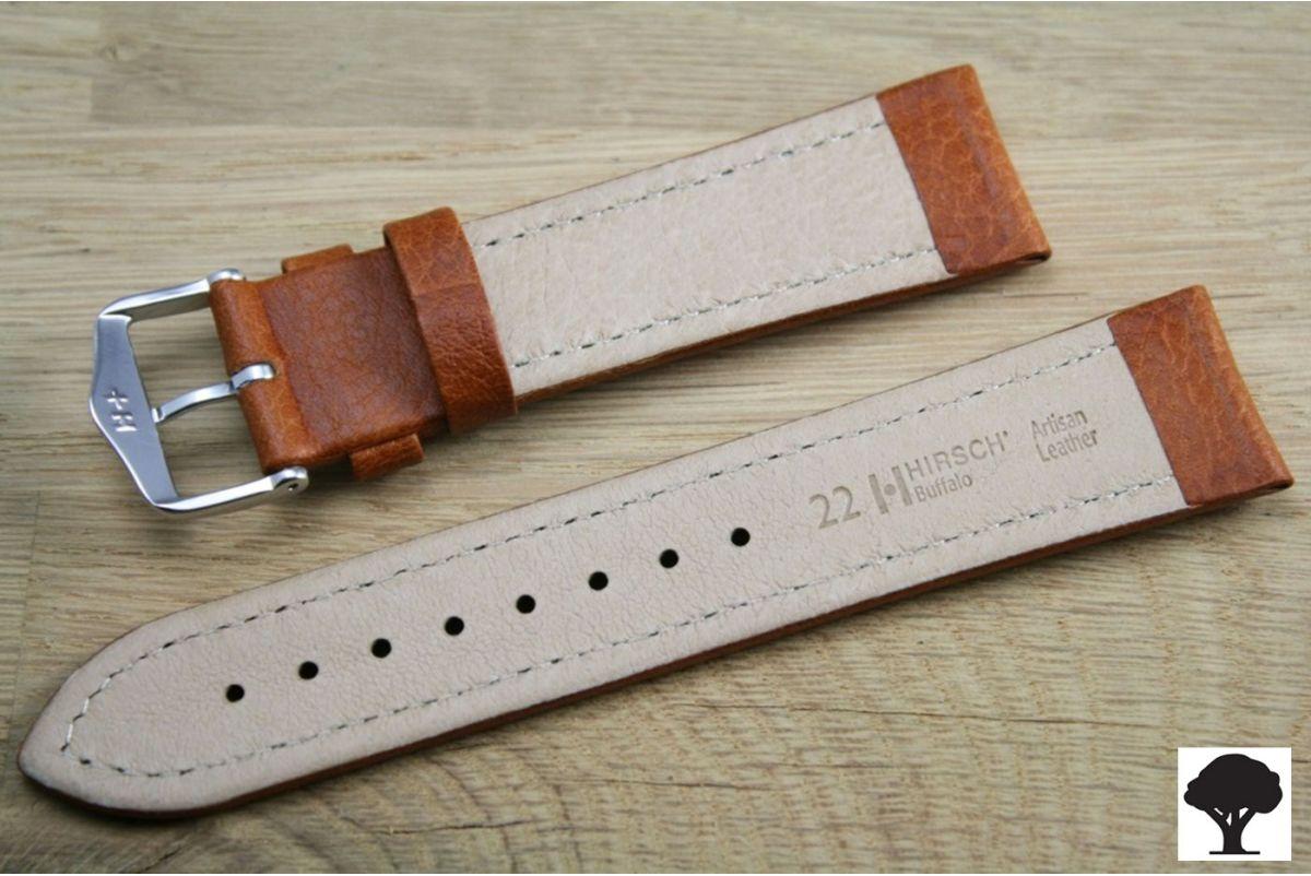 Bracelet montre HIRSCH Buffalo marron miel, cuir au tannage naturel