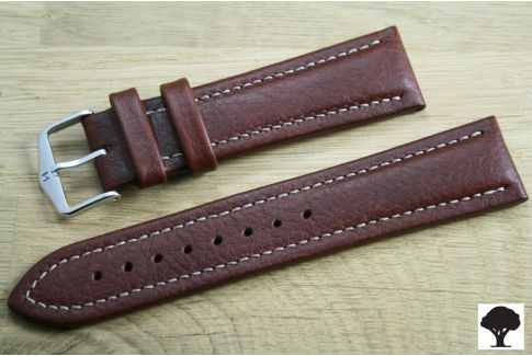 Brown Buffalo HIRSCH watch bracelet, vegetable tanning leather