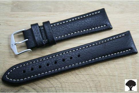 Bracelet montre HIRSCH Buffalo noir, cuir au tannage naturel
