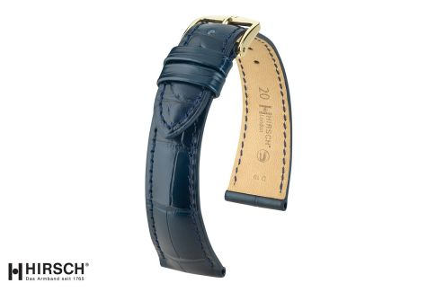 Bracelet montre HIRSCH London Bleu, Alligator de Louisiane