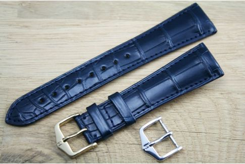 London HIRSCH watch bracelet, Blue Louisiana Alligator
