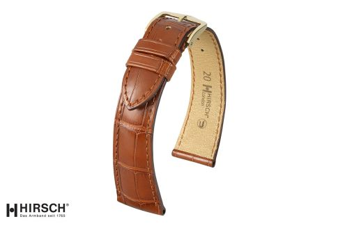 London HIRSCH watch bracelet, Gold Brown Louisiana Alligator
