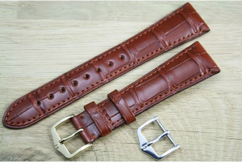 Bracelet montre HIRSCH London Marron Or, Alligator de Louisiane