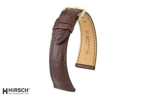 London HIRSCH watch bracelet, Brown Louisiana Alligator