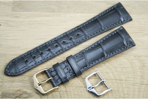 Bracelet montre HIRSCH London Gris, Alligator de Louisiane