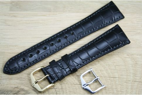 Bracelet montre HIRSCH London Noir, Alligator de Louisiane