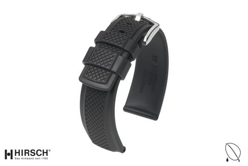 Black Accent HIRSCH natural rubber watch bracelet