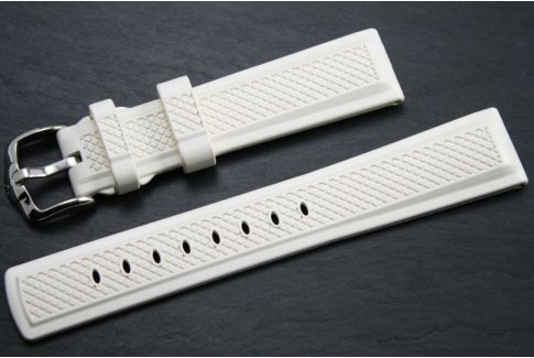 White Accent HIRSCH natural rubber watch bracelet