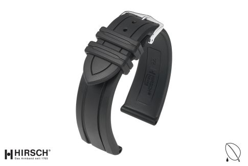Black Hevea HIRSCH natural rubber watch bracelet