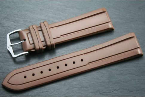 Brown Hevea HIRSCH natural rubber watch bracelet