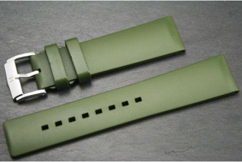 Bracelet montre HIRSCH Pure en caoutchouc naturel Vert Kaki (Militaire)