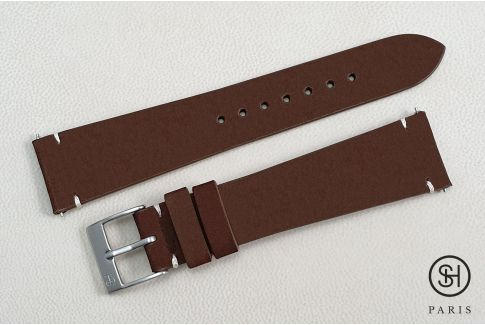 Cigar Nubuck SELECT-HEURE leather watch strap with quick release spring bars (interchangeable)