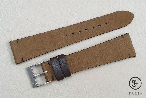 Bracelet montre cuir Nubuck SELECT-HEURE  Argile avec pompes rapides (interchangeable)