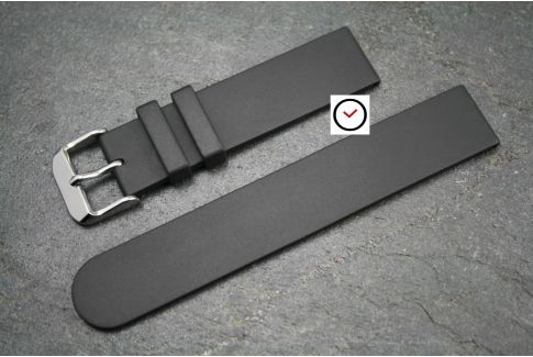 Black Classic natural rubber watch strap