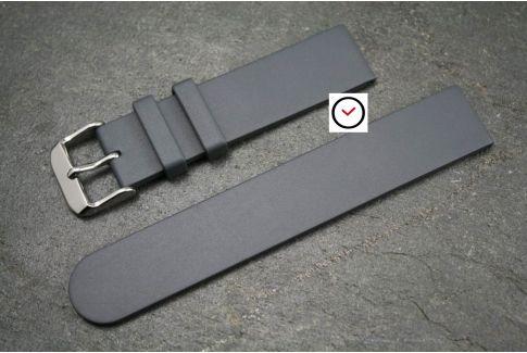 Bracelet montre caoutchouc naturel Classique Gris Anthracite
