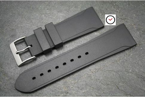 Black natural rubber casual watch strap