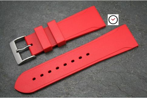 Red Casual natural rubber watch strap