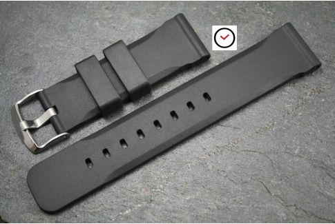 Black Technical natural rubber watch strap