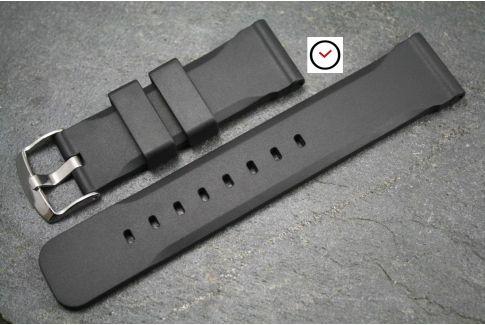 Bracelet montre caoutchouc naturel Technique Noir