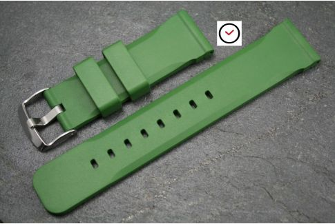 Kaki (Military / Army Green) Technical natural rubber watch strap