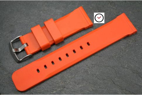 Orange Technical natural rubber watch strap