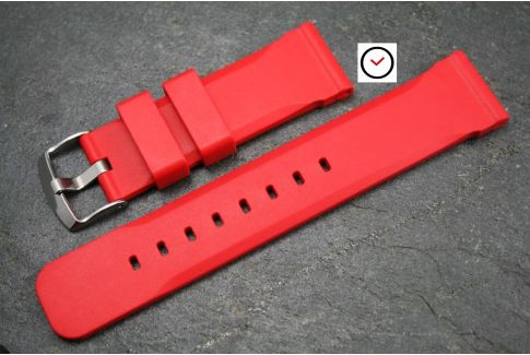 Red Technical natural rubber watch strap