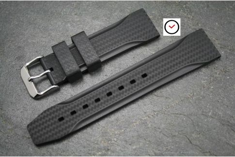 Black Carbon Technical natural rubber watch strap