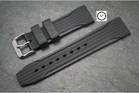 Bracelet montre caoutchouc naturel Technique Noir Carbone
