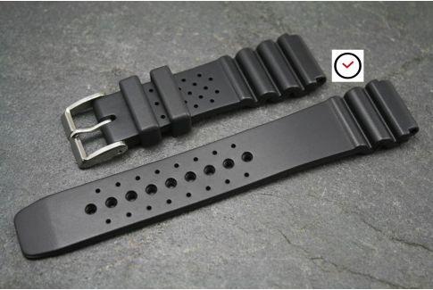 Bracelet montre caoutchouc naturel Plongeur Noir
