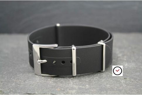 Black rubber NATO watch strap, polished buckle and loops