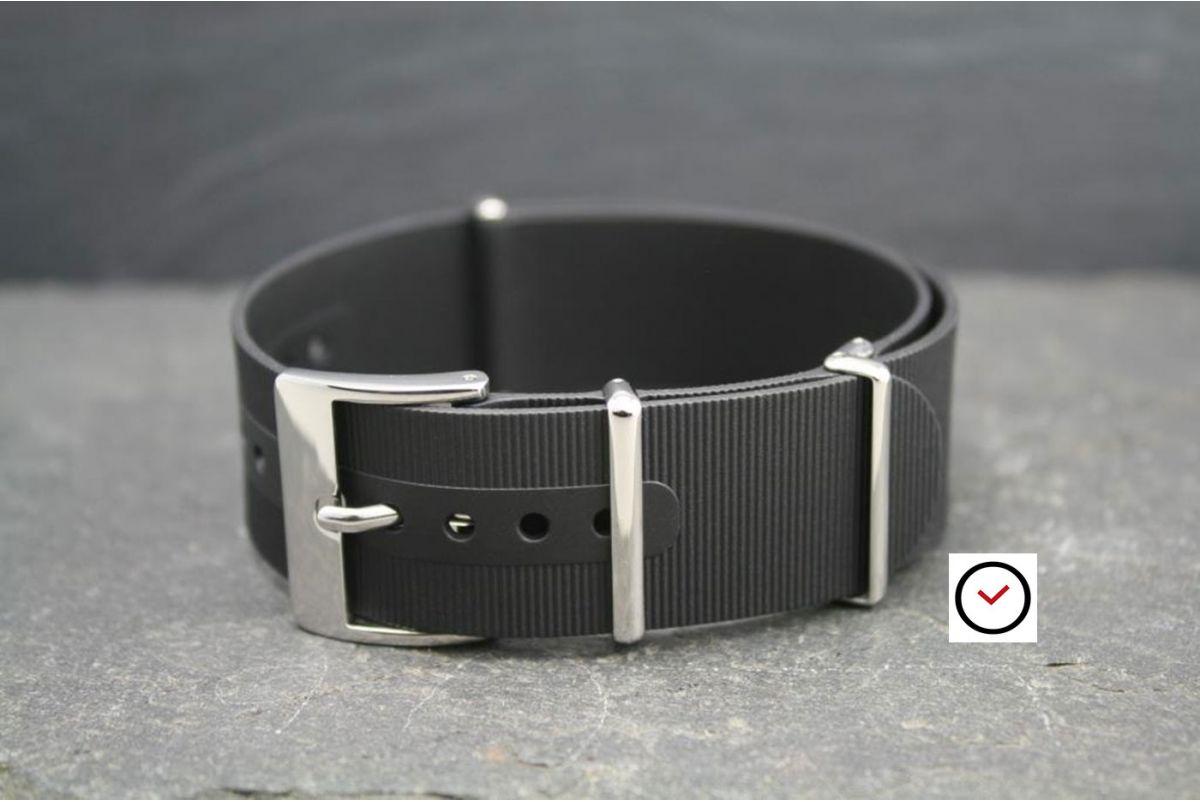 Bracelet montre NATO caoutchouc Noir, boucle polie