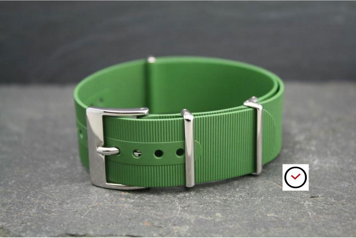 Bracelet montre NATO caoutchouc Vert Kaki (Militaire), boucle polie